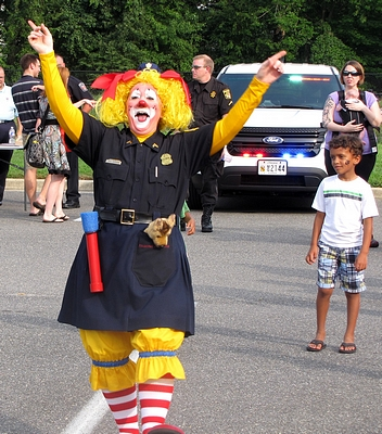 A police clown entertained.