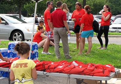 Target also had volunteers, and gave away backpacks and frisbees